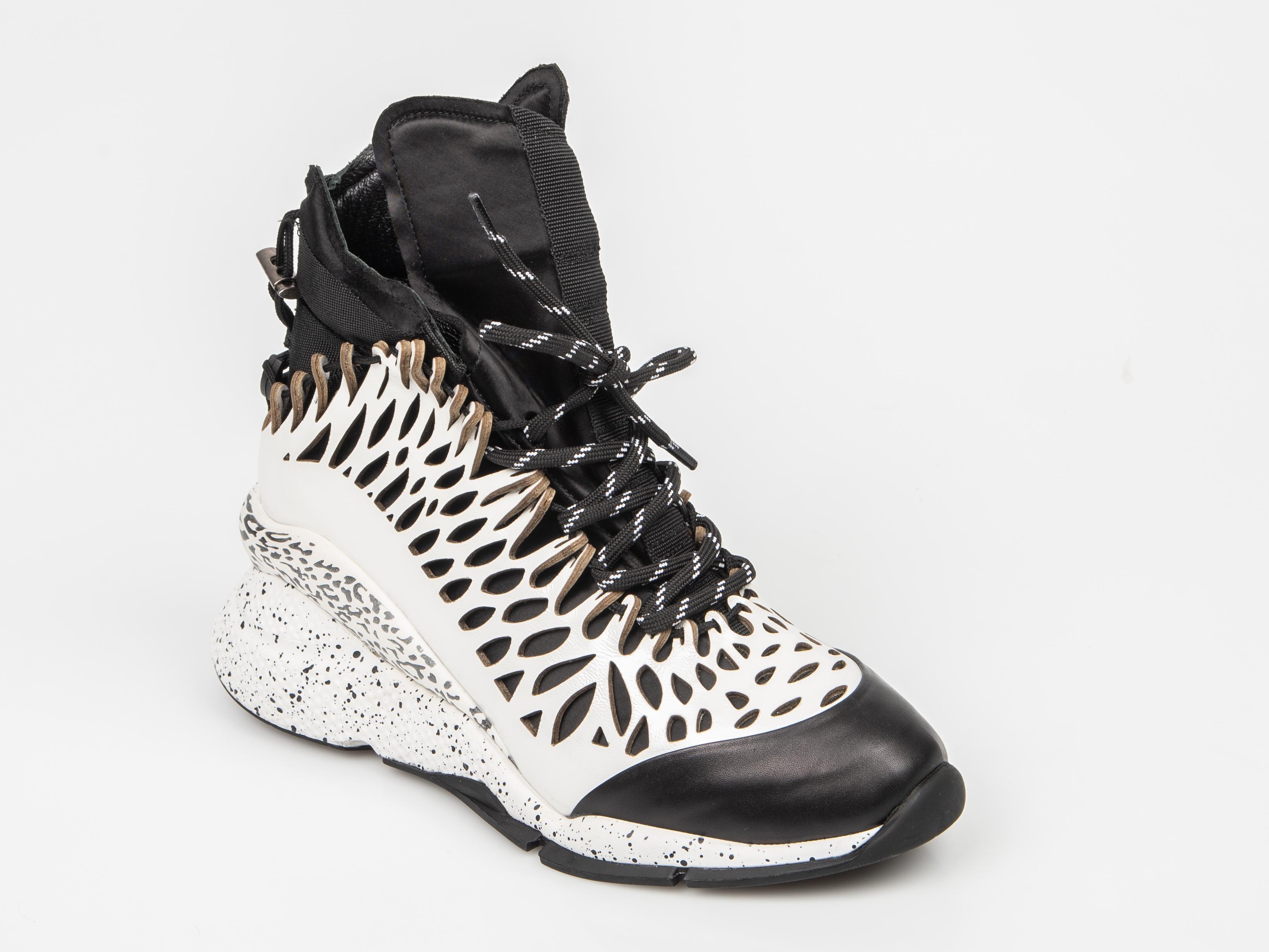 Pantofi Sport Flavia Passini Alb-negre, Fh83795, Din Piele Ecologica