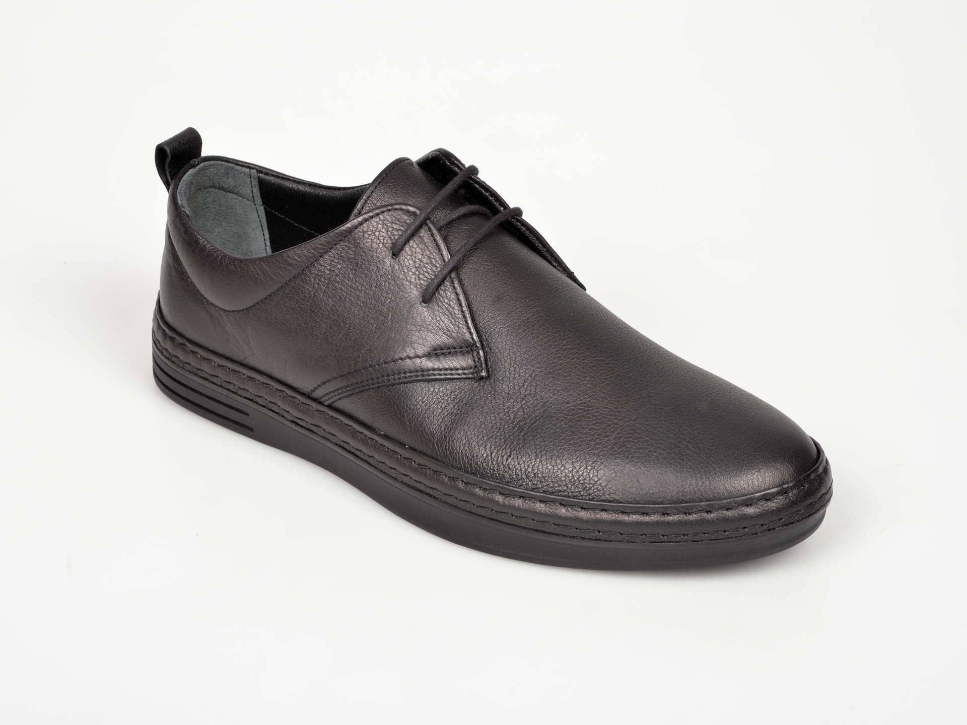 Pantofi Otter Negri, M5380, Din Piele Naturala
