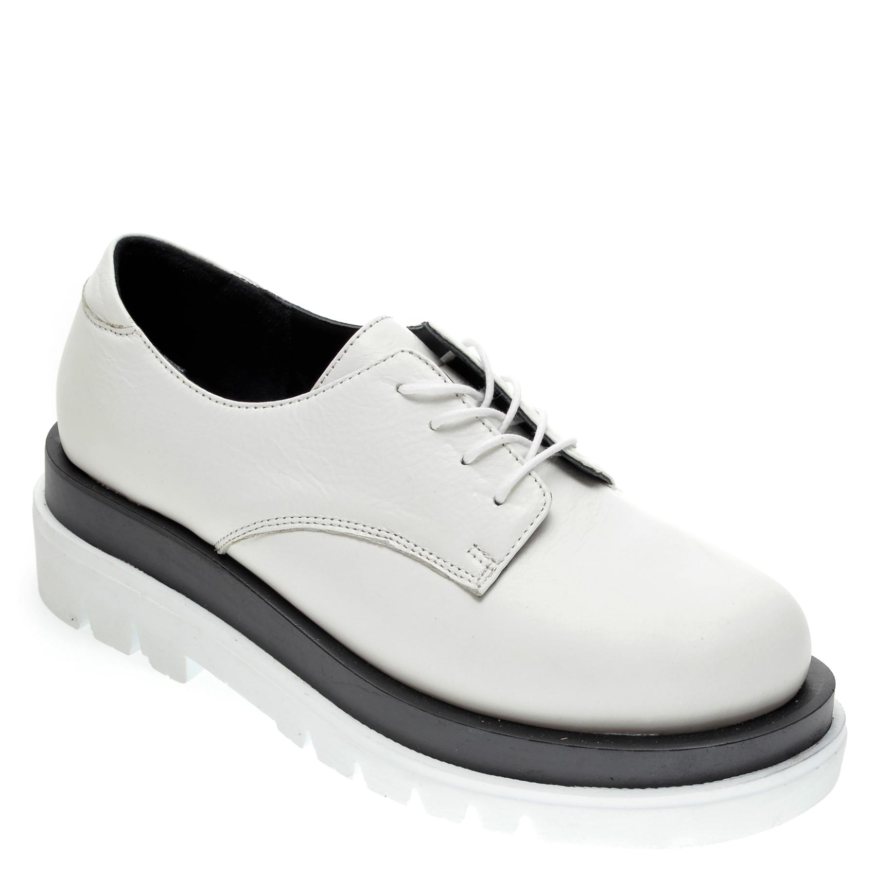 Pantofi Flavia Passini Albi, 2024, Din Piele Naturala