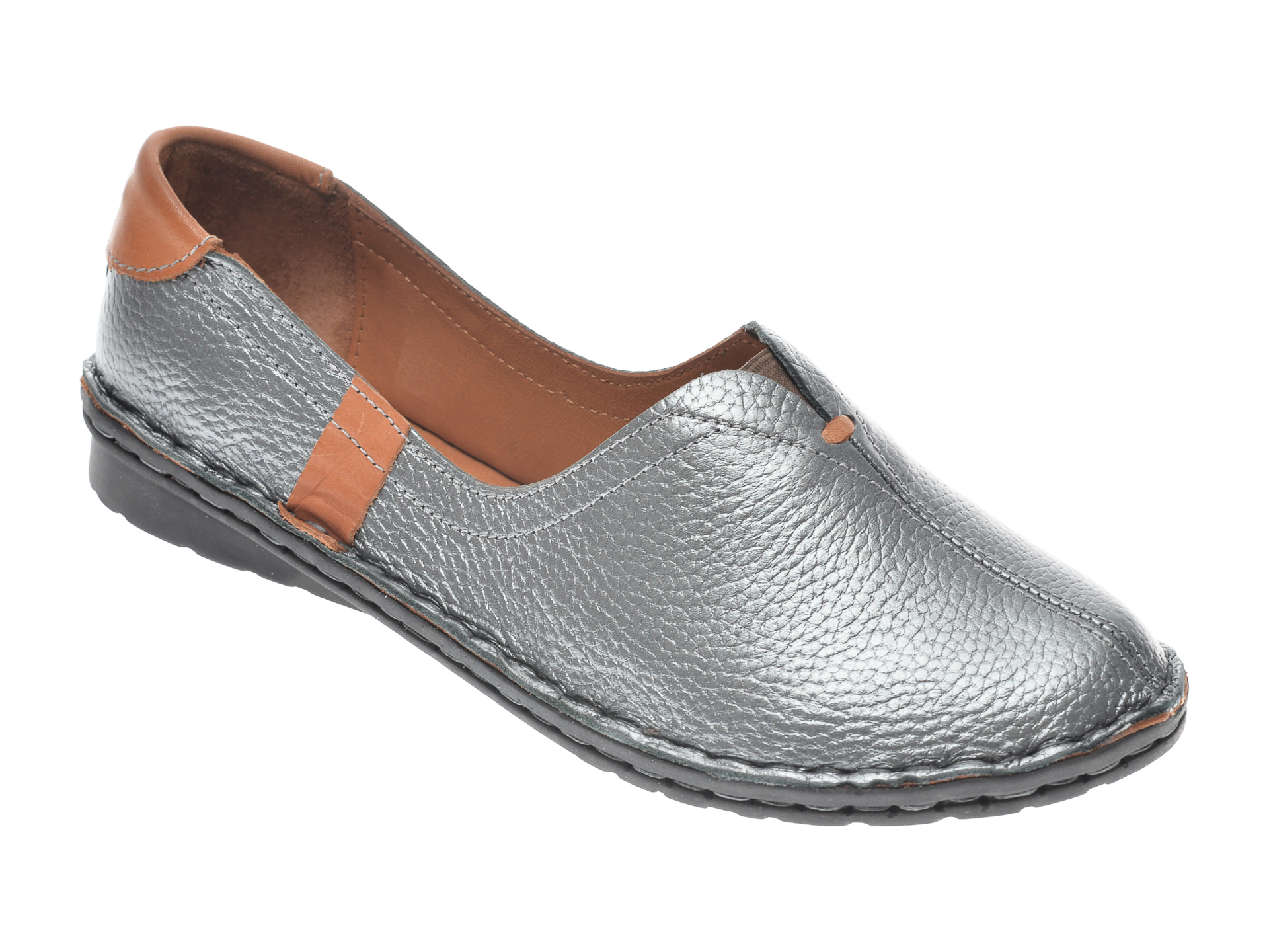 Pantofi Flavia Passini Argintii, 952405, Din Piele Naturala