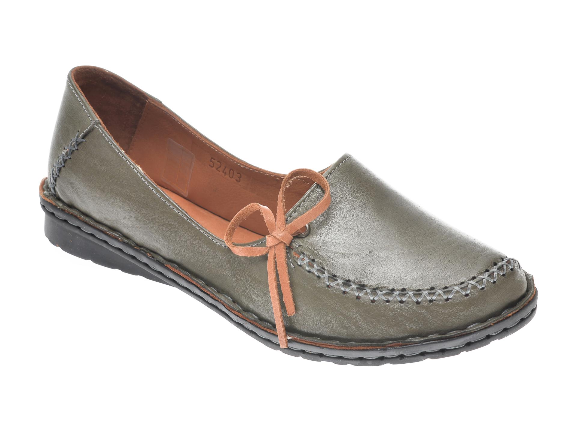 Pantofi Flavia Passini Kaki, 952403, Din Piele Naturala