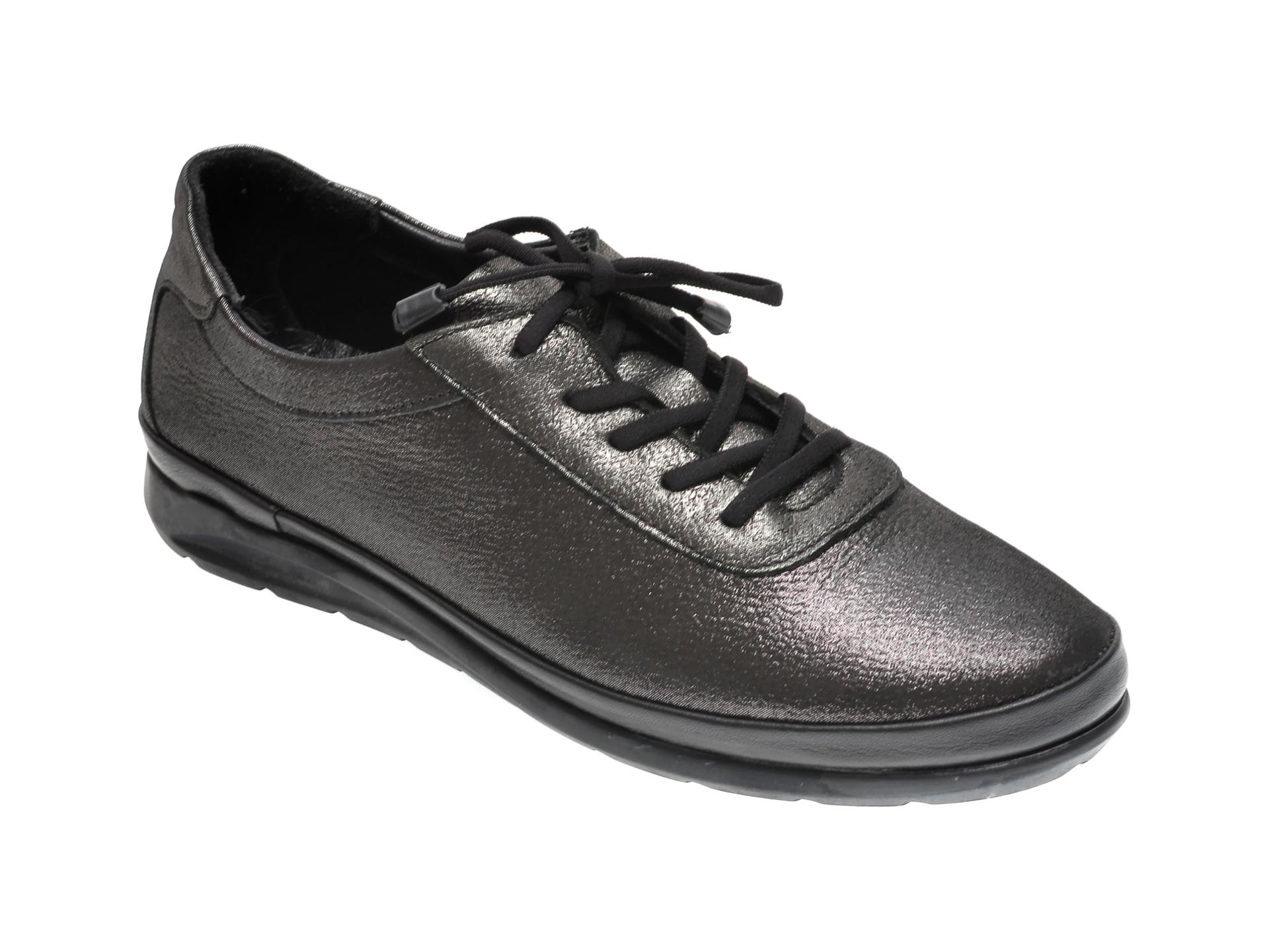Pantofi Iloz Gri, 6354, Din Piele Naturala