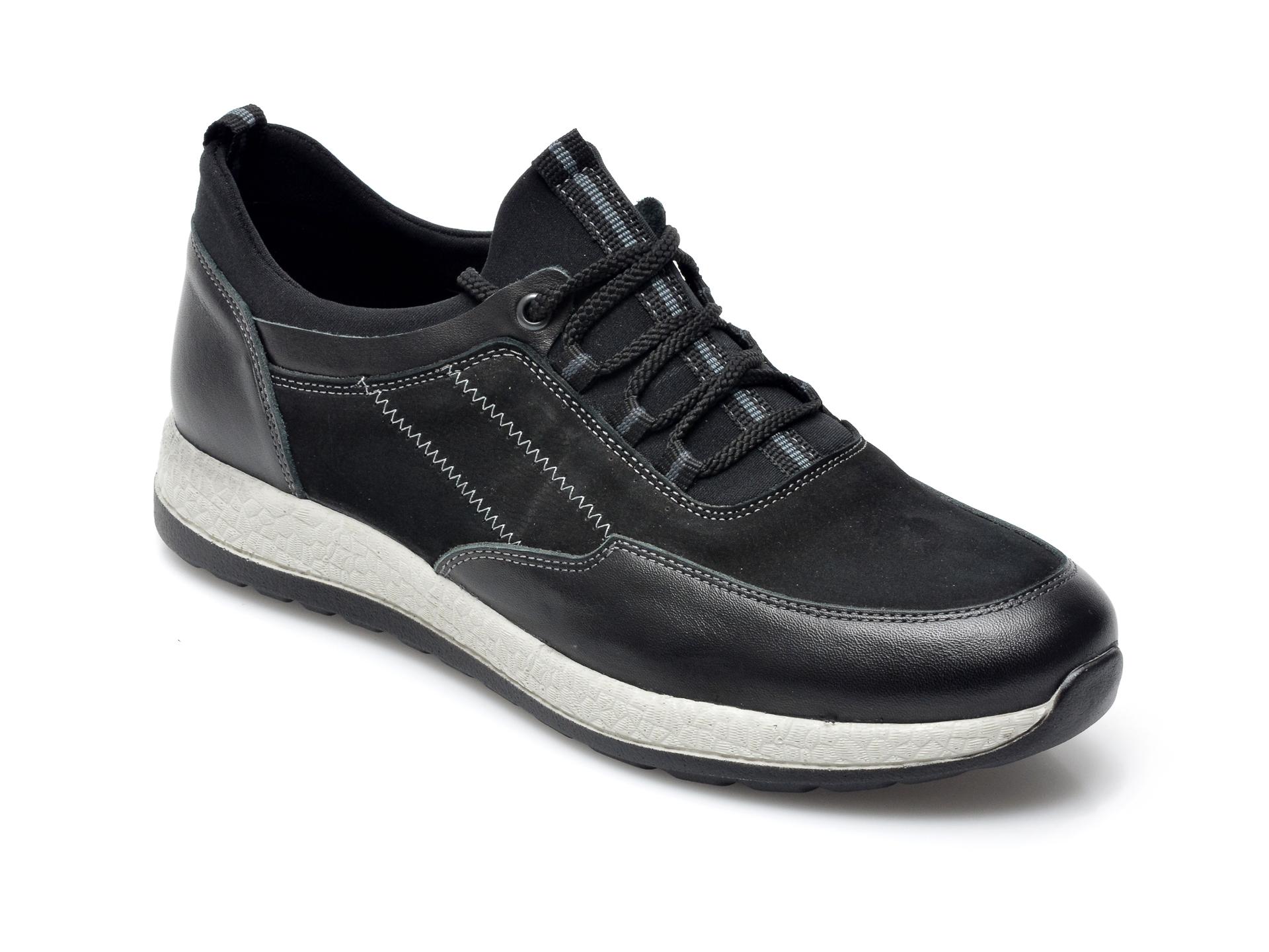 Pantofi Otter Negri, 22172, Din Nabuc