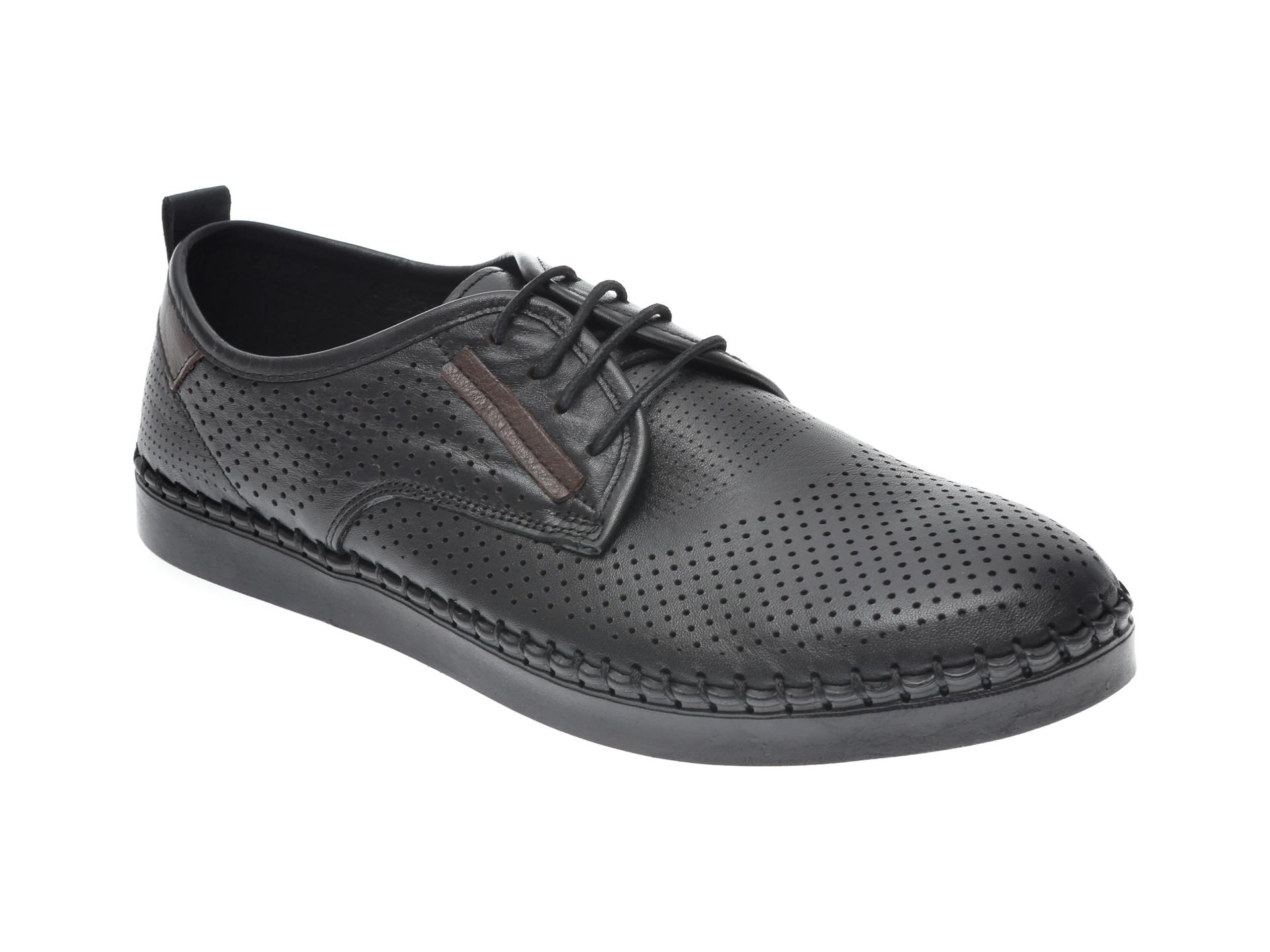 Pantofi Otter Negri, 2871, Din Piele Naturala
