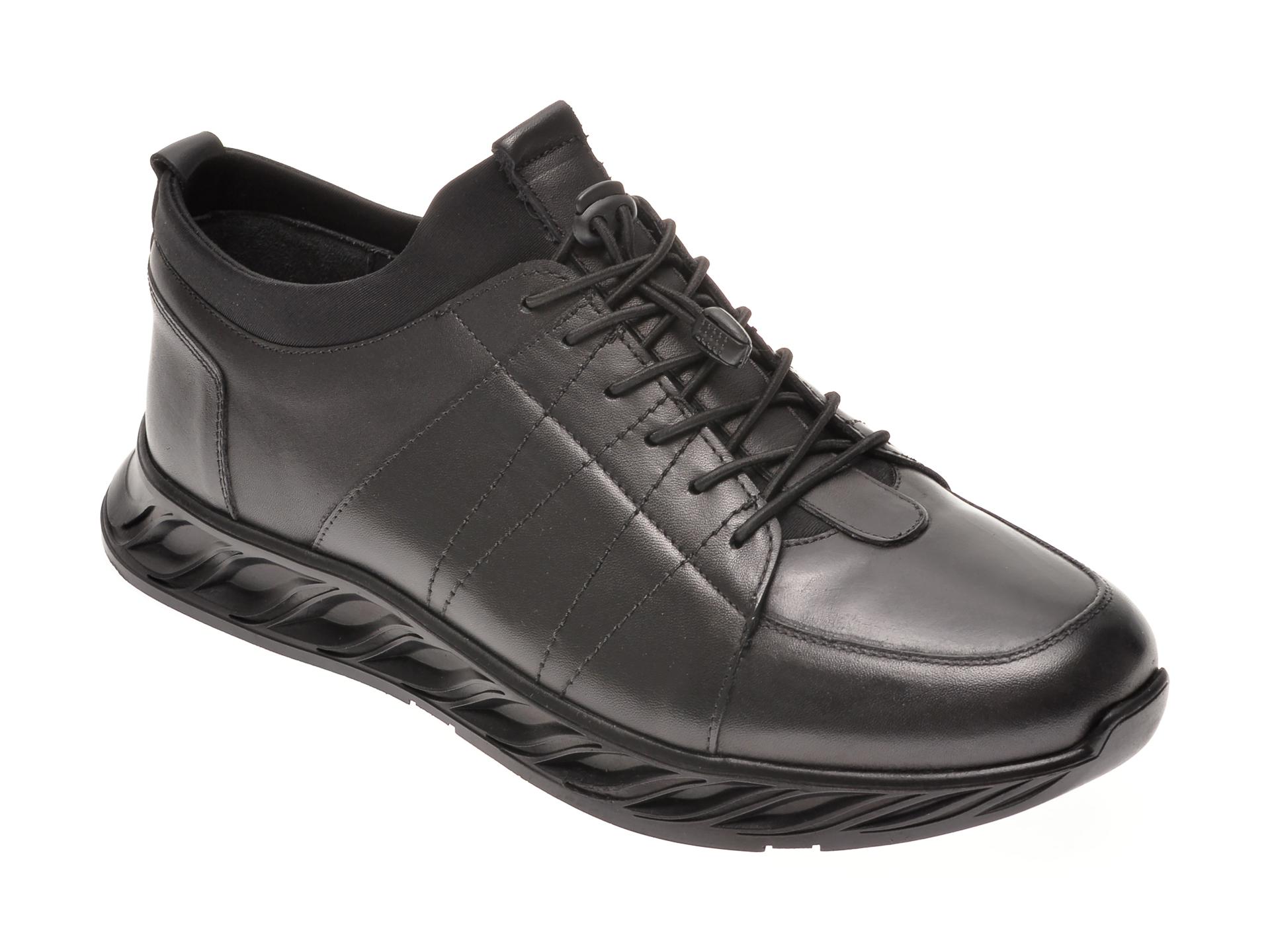 Pantofi Otter Negri, 30904, Din Piele Naturala