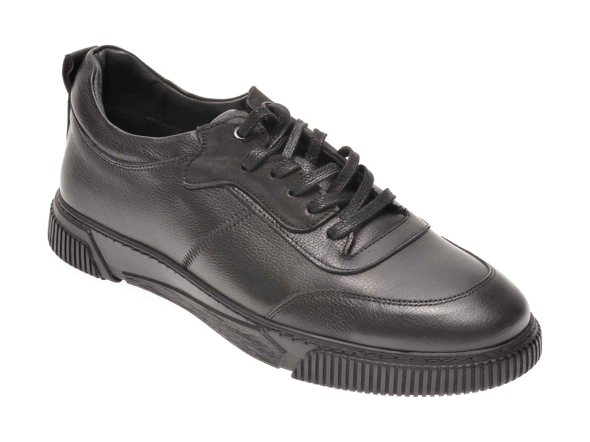 Pantofi Otter Negri, 78901, Din Piele Naturala