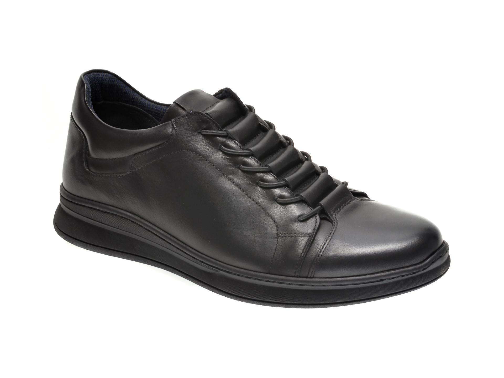 Pantofi Otter Negri, K35, Din Piele Naturala