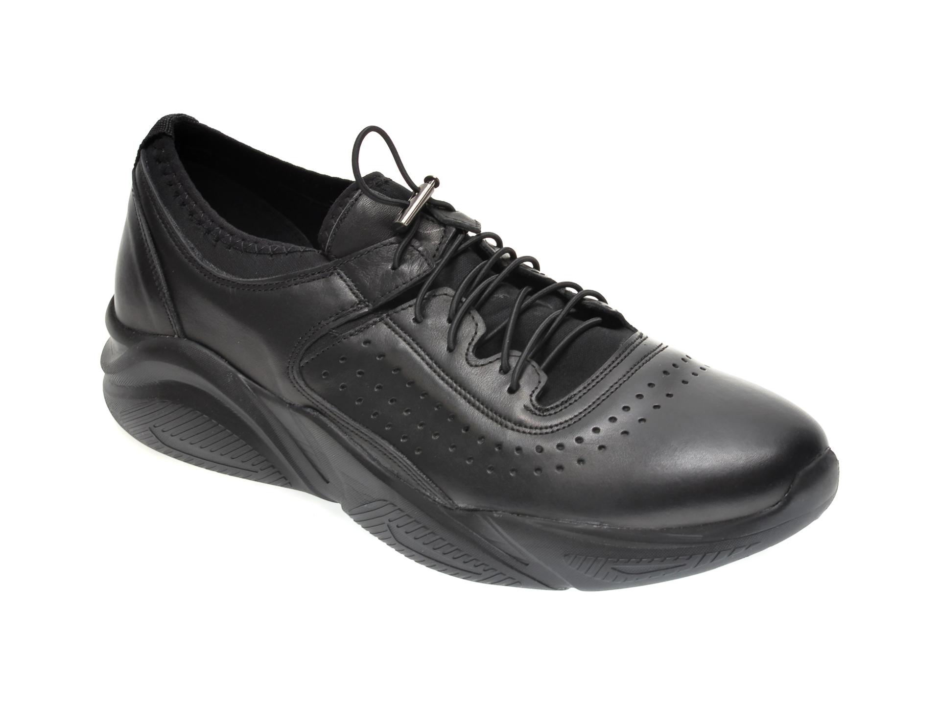 Pantofi Otter Negri, M5744, Din Material Textil Si Piele Naturala