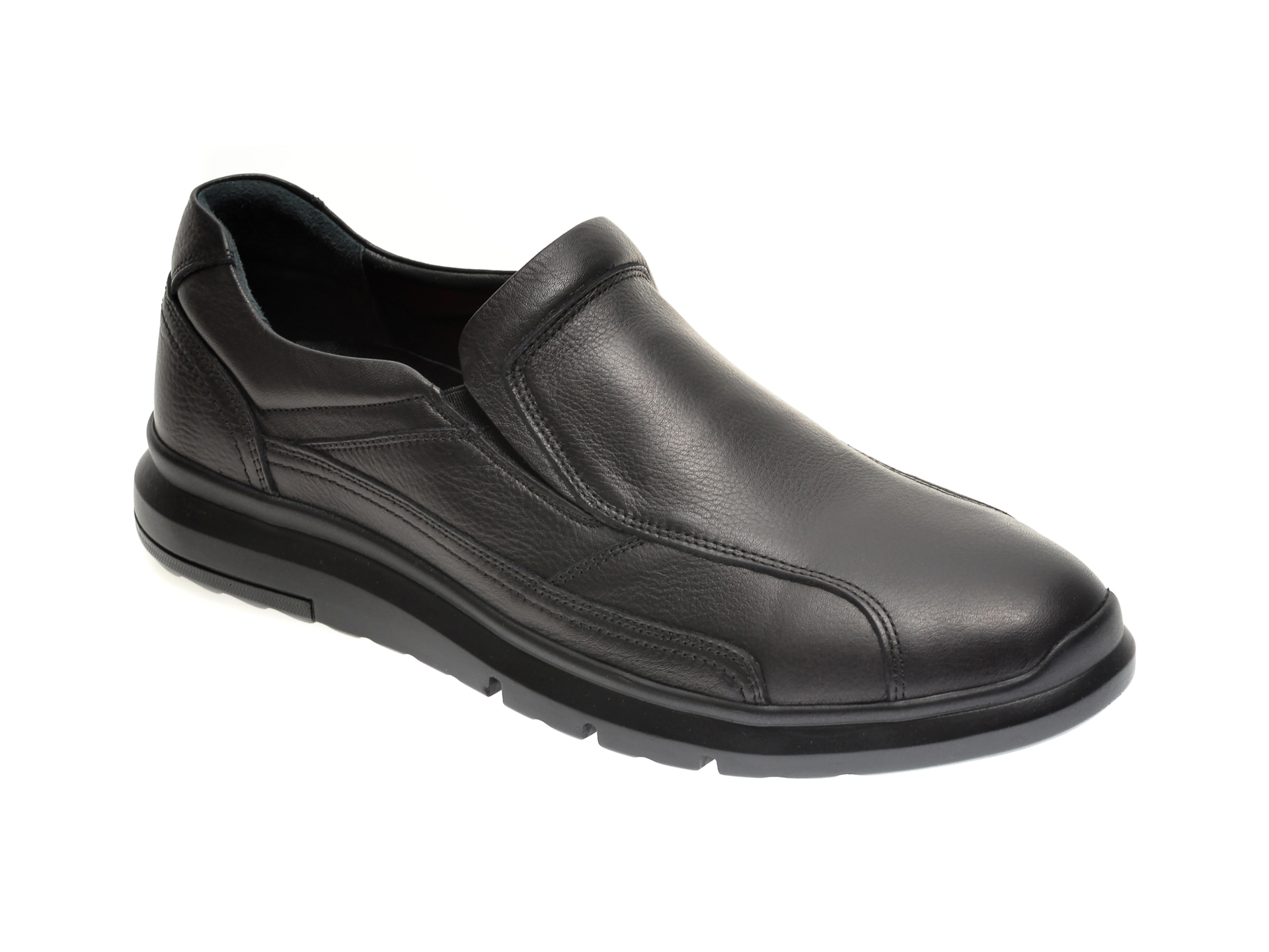 Pantofi Otter Negri, Ttp41, Din Piele Naturala