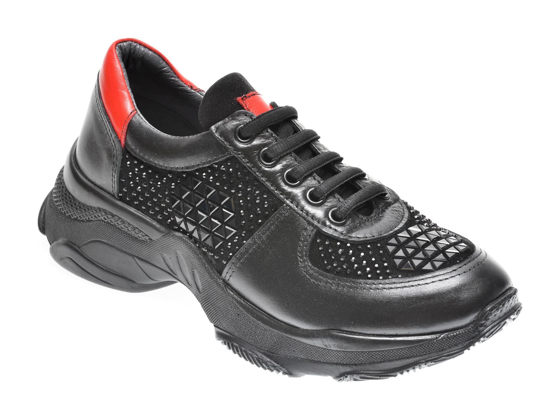 Pantofi Sport Flavia Passini Negri, 5212701, Din Piele Naturala