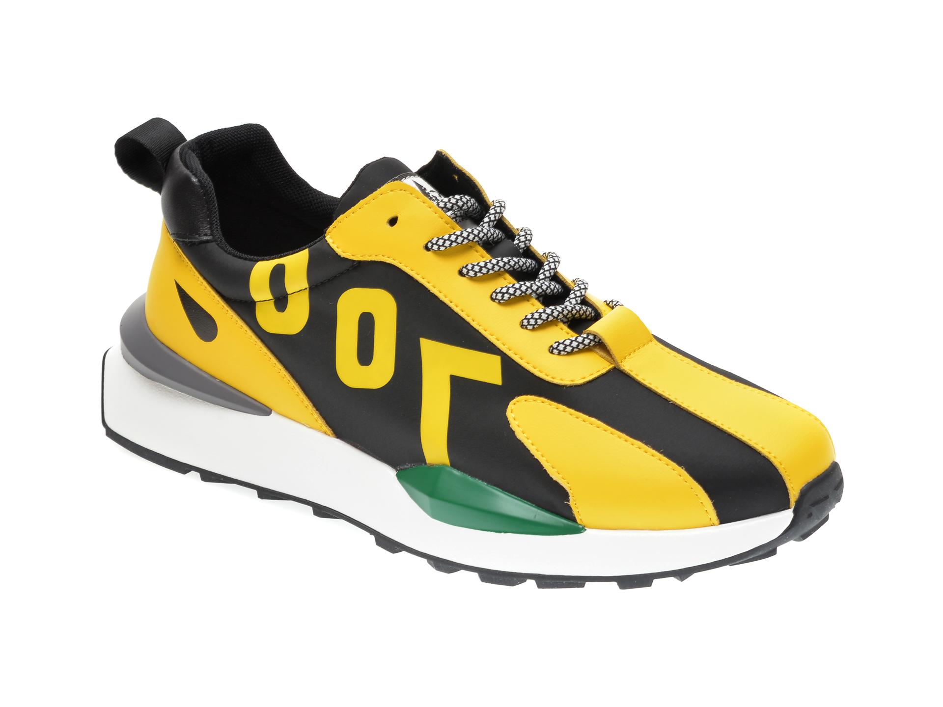 Pantofi Sport Gryxx Galbeni, B007, Din Material Textil Si Piele Ecologica
