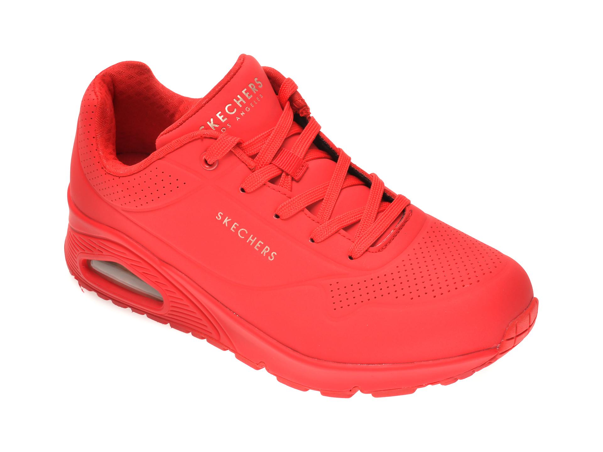 Pantofi Sport Skechers Rosii, Uno Stand On Air, Din Piele Ecologica