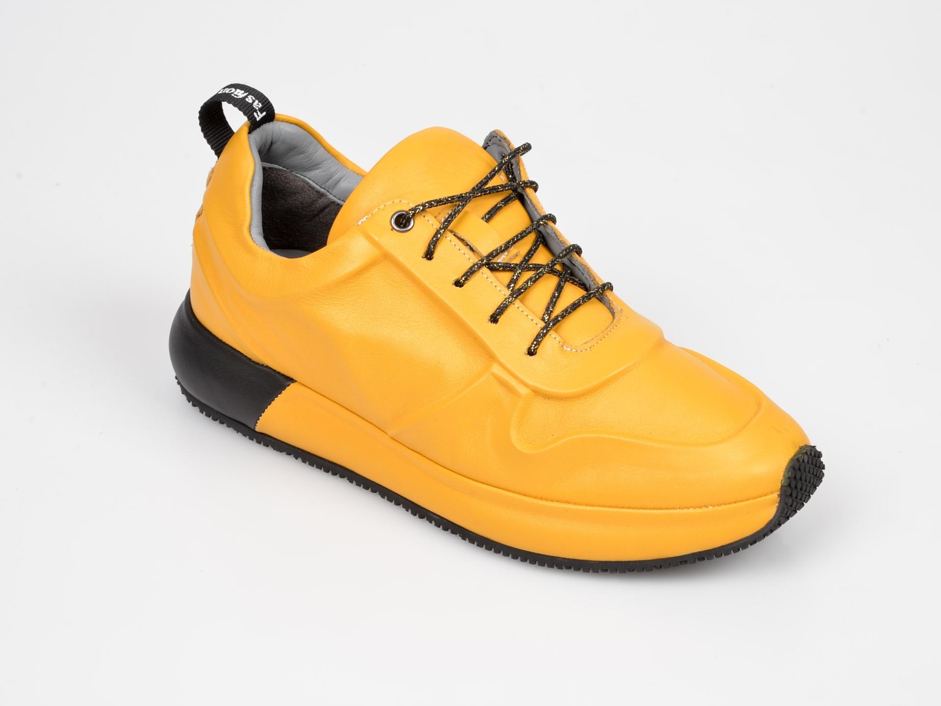 Pantofi Sport Flavia Passini Galbeni, Dl9002, Din Piele Naturala
